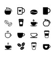 set simple coffee icons vector image vector image