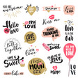 set valentines day stickers and badges vector image vector image