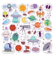 Solar system astronomy icons stickers set vector image vector image