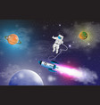 space exploration with retro rocket planets stars vector image