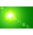 sun and lens flare green background vector image vector image