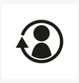 synchronize update icon with man in the center vector image vector image