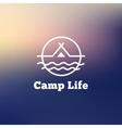 trendy outline camping logo tent vector image