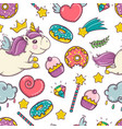 unicorn sweet and donut set of stickers pins vector image