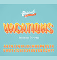 vacations vintage 3d summer alphabet vector image vector image