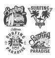 vintage monochrome surfing labels vector image