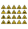 warning signs set safety in workplace yellow vector image vector image