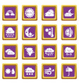 weater icons set purple square vector image vector image