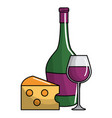 wine bottle and cup design vector image