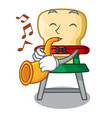 with trumpet cartoon baby sitting in the highchair vector image vector image