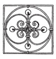 wrought-iron square panel have a circular design vector image vector image