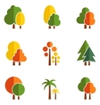 tree set on flat design style vector image