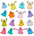 set of colorful funny ghost icons vector image