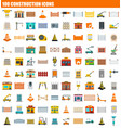 100 construction icon set flat style vector image