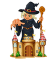 A giant witch at the back of a castle vector image vector image