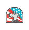 American Football Quarterback QB USA Flag Woodcut vector image vector image