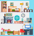 big detailed interior set home furniture vector image vector image