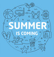 blue line flat circle summer vector image