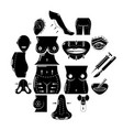 body parts icons set simple style vector image vector image