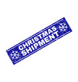 christmas shipment grunge rectangle stamp seal vector image vector image