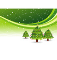 Christmas tree in snowy green background vector image vector image