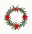 christmas wreath with cones flowers and a bow vector image vector image