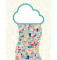 Cloud computing social media network vector image vector image