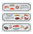 colorful hand drawn seafood horizontal banners vector image