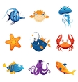 Colorful Marine Animals Set vector image