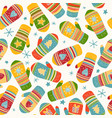 colorful mittens pattern vector image vector image