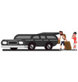 couple loads suitcases into car vector image