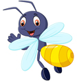 Cute bee cartoon waving vector image