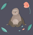 cute boy sloth sitting in a jungle vector image