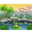 Cute frog jumping on the lily water vector image vector image