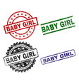 damaged textured baby girl seal stamps vector image vector image