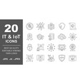 data protection it iot internet security icons vector image