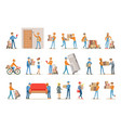 different delivery service workers and clients vector image vector image