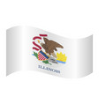 flag of illinois waving on white background vector image vector image