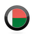 flag of madagascar shiny black round button vector image vector image