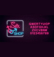 glowing neon sex shop street sign with alphabet vector image