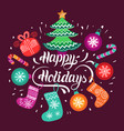 happy holidays lettering design with vector image
