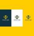 honey bee logo with golden infinity line art vector image