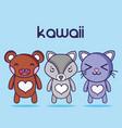 kawaii cute animal faces expression vector image
