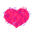 layout with flying notes and pink heart isolated vector image vector image