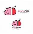 logo combination of brain and bomb vector image vector image