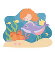 mermaid dolphin fishes shrimp starfish coral vector image