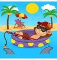 monkey fishing on sea vector image vector image