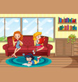 mother and children staying at home vector image