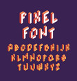 pixel font retro block alphabet game in retro vector image