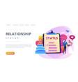 relationship status concept landing page vector image vector image